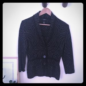 Alfani Animal Print Button down Peplum Sweater